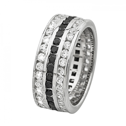 2 Jewels Ring Glam 3-reihig mit black/white Zirkonia
