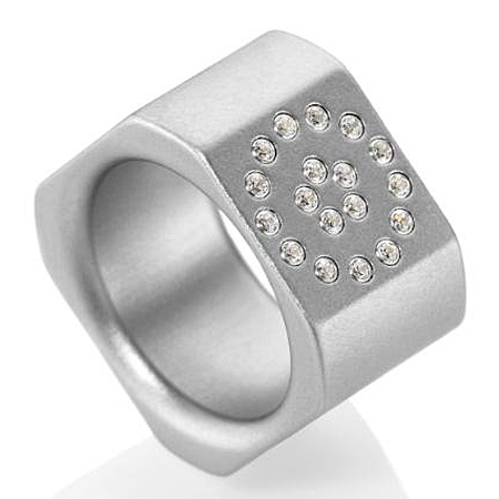 Modern Art Ring mit 18 Swarovski Crystals