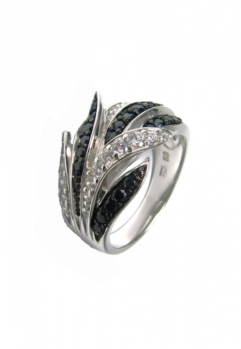 Luxxos Premium Silber Ring black / white