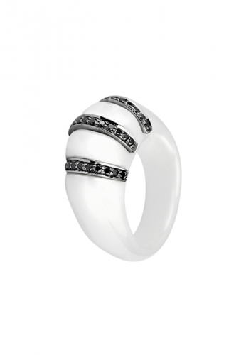 LDC - Keramik Ring mit 34 Diamanten 0,25 ct 750 WG